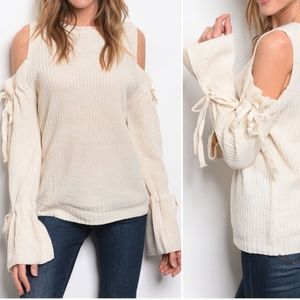 OATMEAL COLD SHOULDER BELL SLEEVE KNIT SWEATER